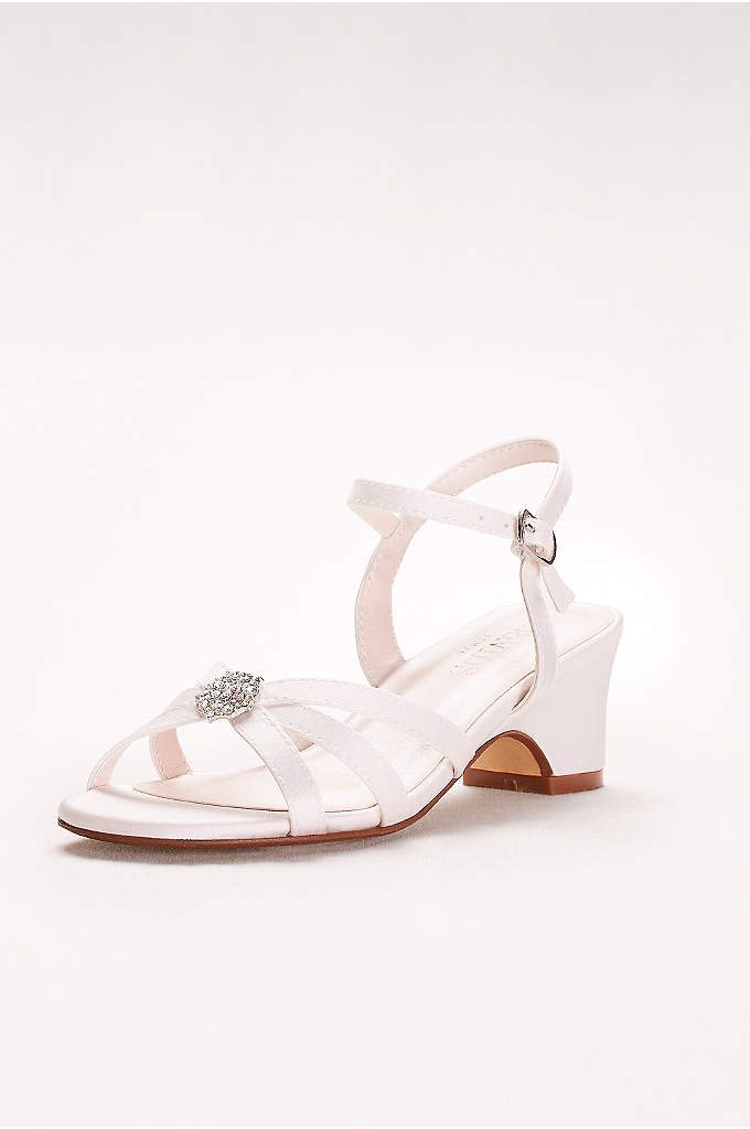Girls Strappy Satin Sandals with Rhinestones - The perfect sandal for flower girls and special