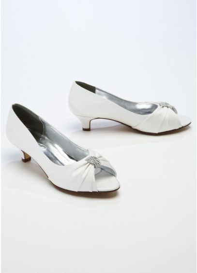 Ivory (Satin Peep Toe Sandal with Crystal Ornament)