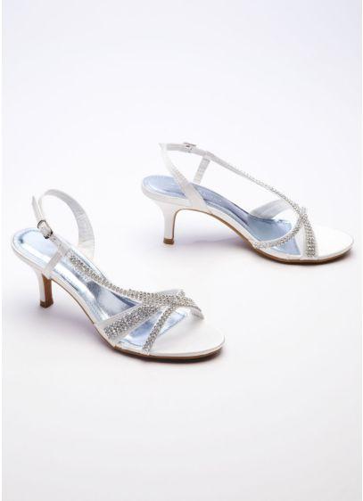 Ivory (Satin Mid Heel Sandal with Rhinestones)