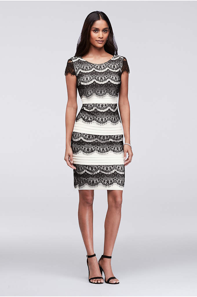 Scalloped Lace and Textured Stripe Sheath Dress - Cool contrast is created by romantic eyelash-lace scallops