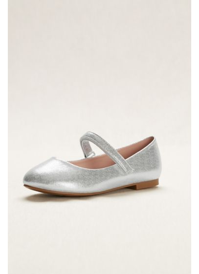 Grey (Flower Girl Metallic Mary Jane Ballet Flats)