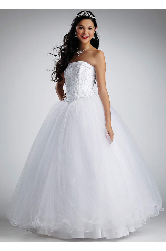 Strapless Tulle Ball Gown with Beaded Satin Bodice - Satin beaded corset with cuff neckline and beaded