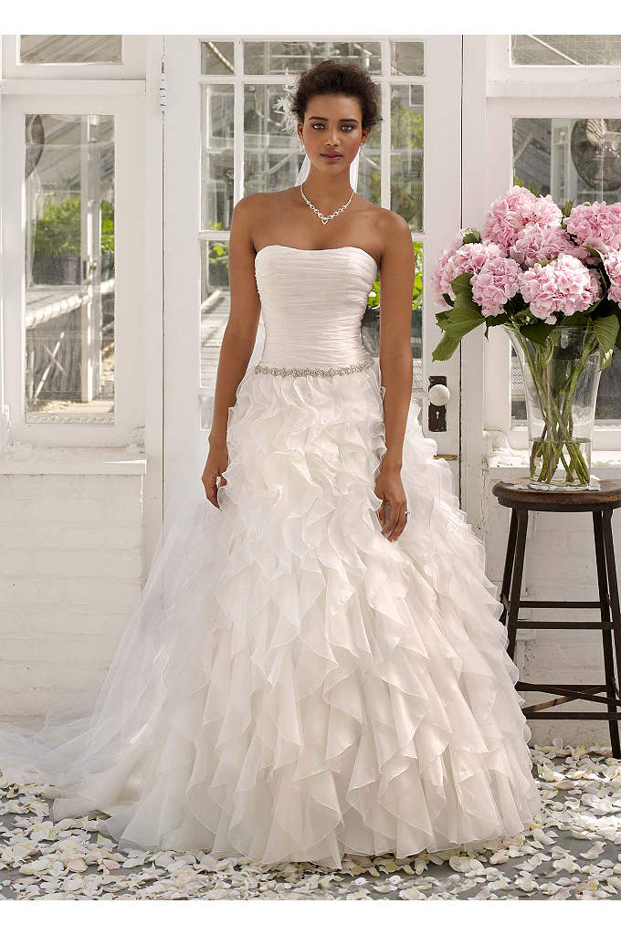 Strapless Organza Ball Gown with Ruffle Detail - The perfect blend of high-fashion and traditional elegance,