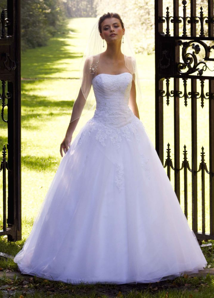 Sample strapless tulle ball gown wedding dress with lace for Ball gown tulle wedding dress
