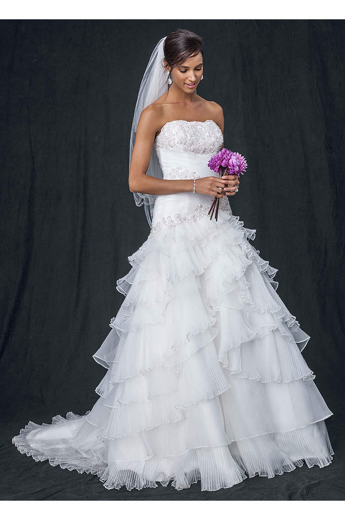 Pleated Ball Gown with Lace-Up Back - Classic silhouette with contemporary construction, this exquisite Organza