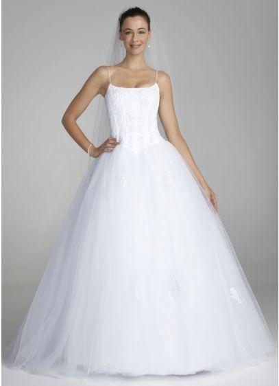 Spaghetti strap tulle ball gown with corset davids bridal for Spaghetti strap ball gown wedding dress