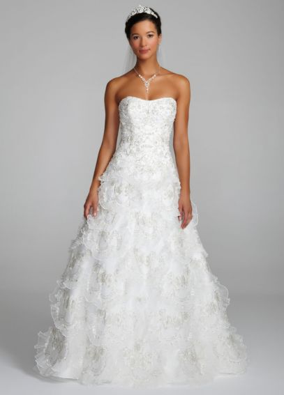Beaded Wedding Gown with Tiered Scallop Skirt AI10012242