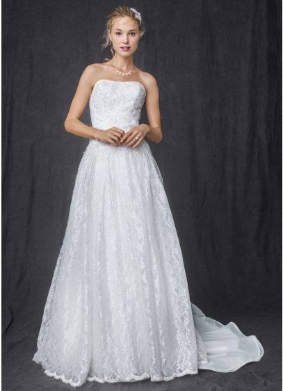 Strapless all over beaded lace ball gown davids bridal for All over beaded wedding dress
