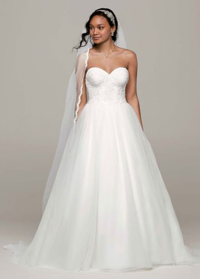 ball gown with lace corset bodice davids bridal
