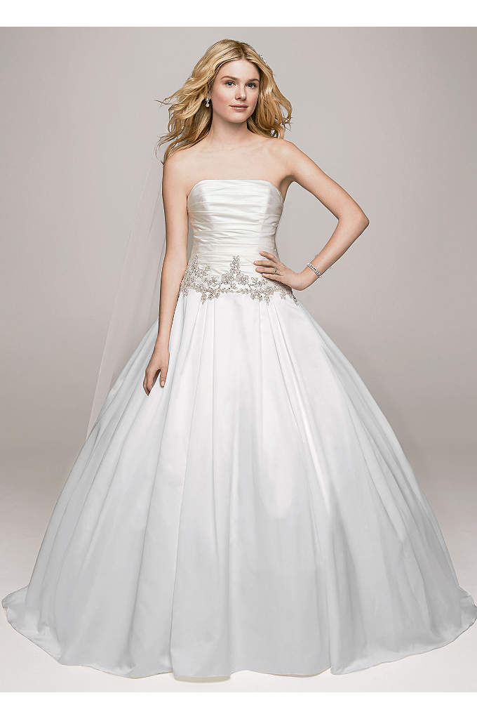 Strapless Satin Ball Gown with Beaded Accents - Glamorous yet classic, this strapless beaded applique gown
