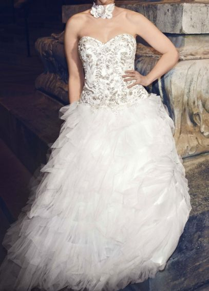 Strapless Tulle Wedding Dress with Ruffled Skirt  AI10012339