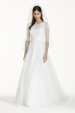 Lace wedding dress with 3 4 sleeves