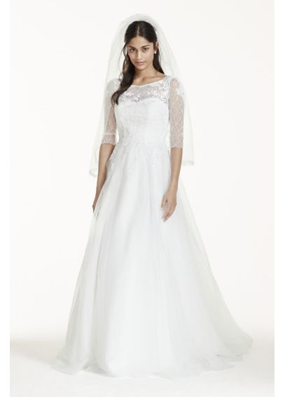 As-Is 3/4 Sleeve Wedding Dress with Lace and Tulle AI10012389