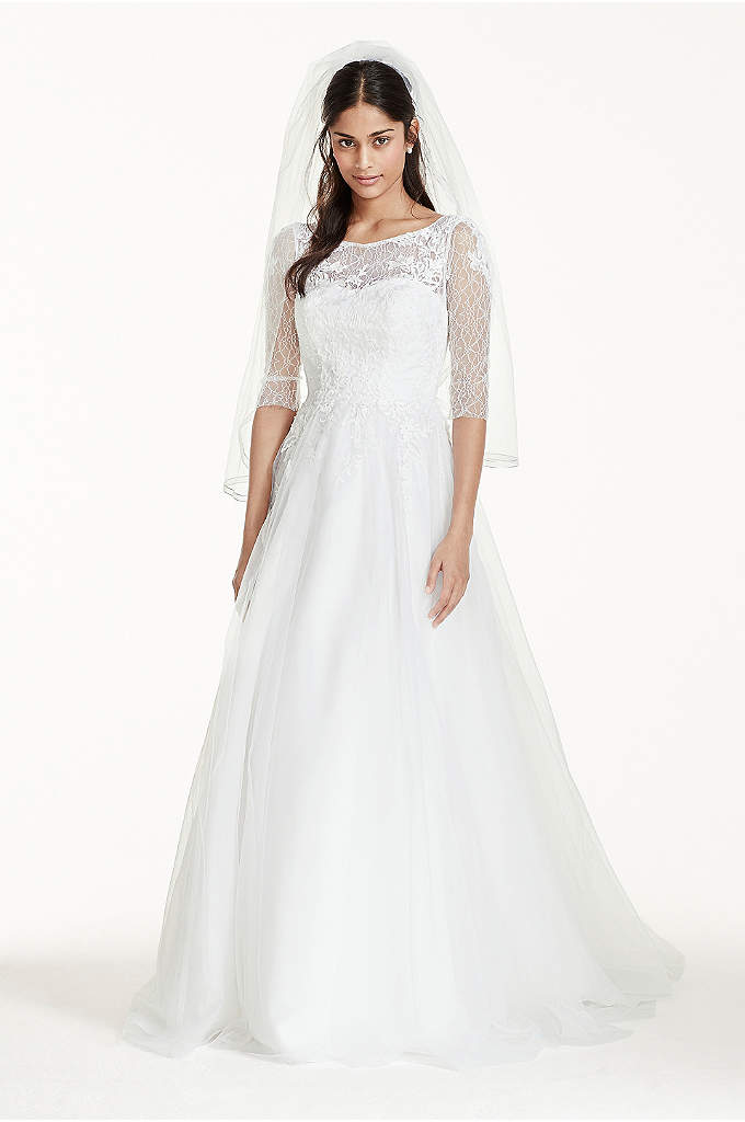 Truly zac posen 3 4 sleeved tulle wedding dress david 39 s for 3 4 sleeve ball gown wedding dress