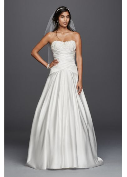 As-Is Satin Beaded Lace Applique Wedding Dress AI10012411