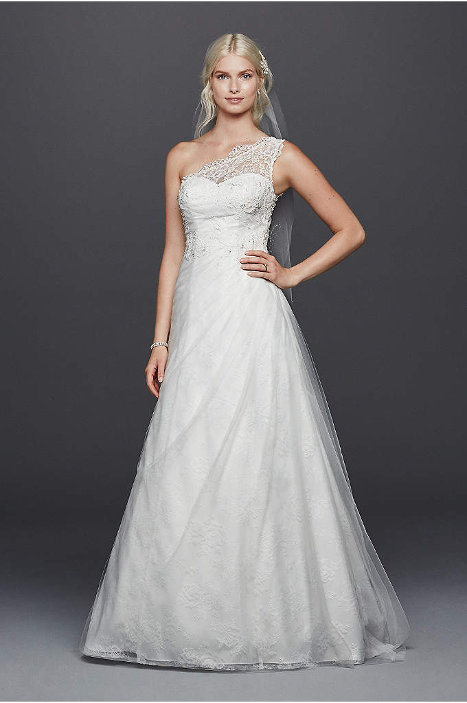 As-Is One ShoulderA-line with Lace Wedding Dress - A scalloped lace one-shoulder gown makes a chic