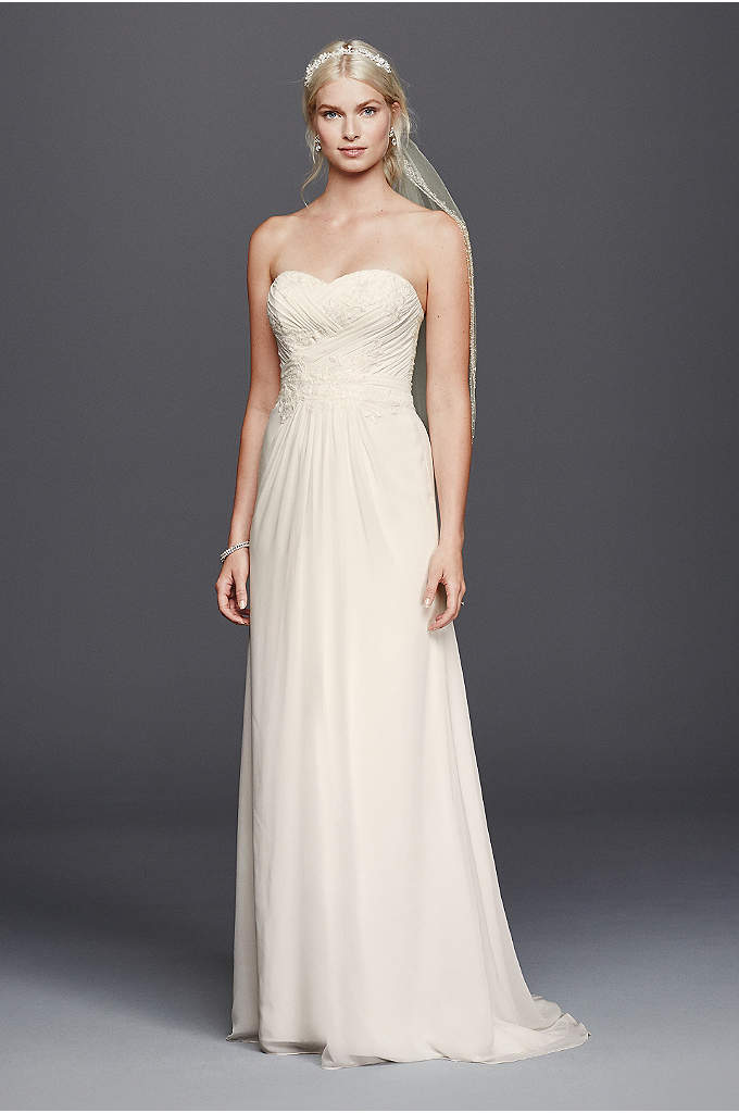 As-Is Chiffon Lace Sweetheart Wedding Dress - Simply stunning, this strapless chiffon sheath wedding dress