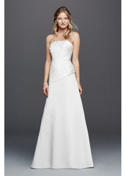 Strapless Ruched Wedding Dress with Lace AI10012433