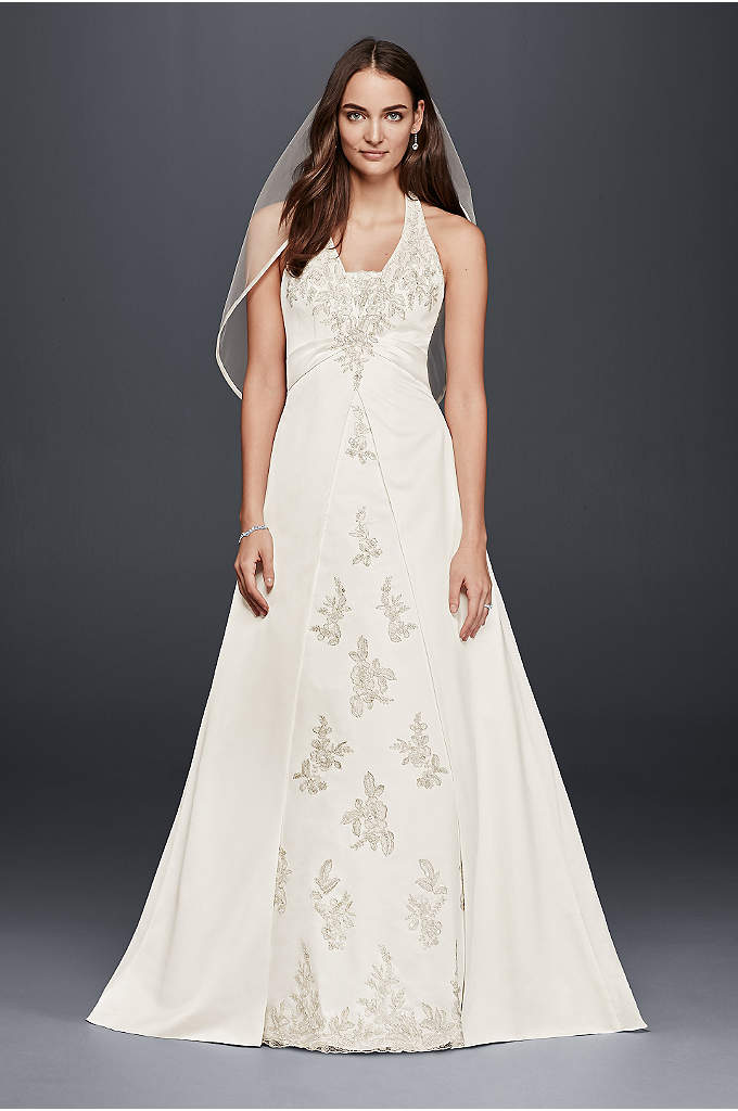As-Is Halter A-Line Wedding Dress with Lace - Get swept away by the gorgeous lace appliqued