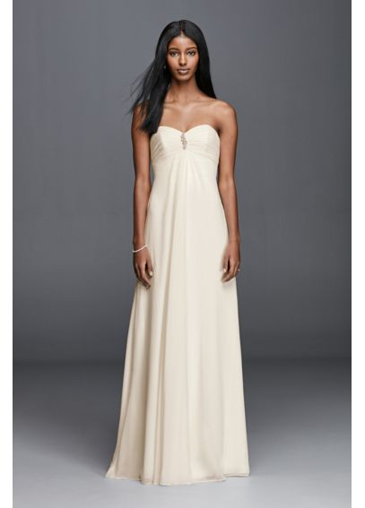 As-Is Strapless Chiffon Aline Wedding Dress  AI10012453