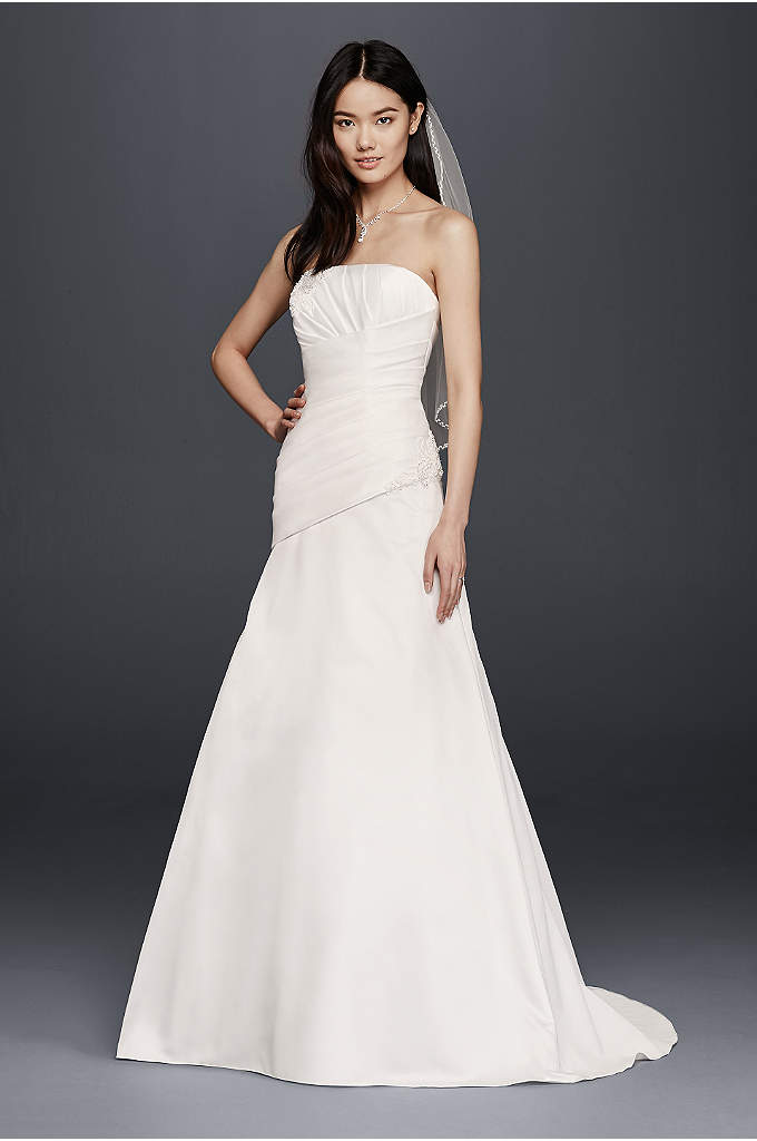 As-Is Strapless Satin A-Line Wedding Dress - A contemporary twist on the classic A-line wedding