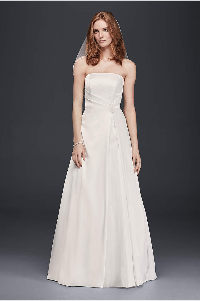 As-Is Satin Beaded Waist A-Line Wedding Dress - What could be lovelier than a classic gown
