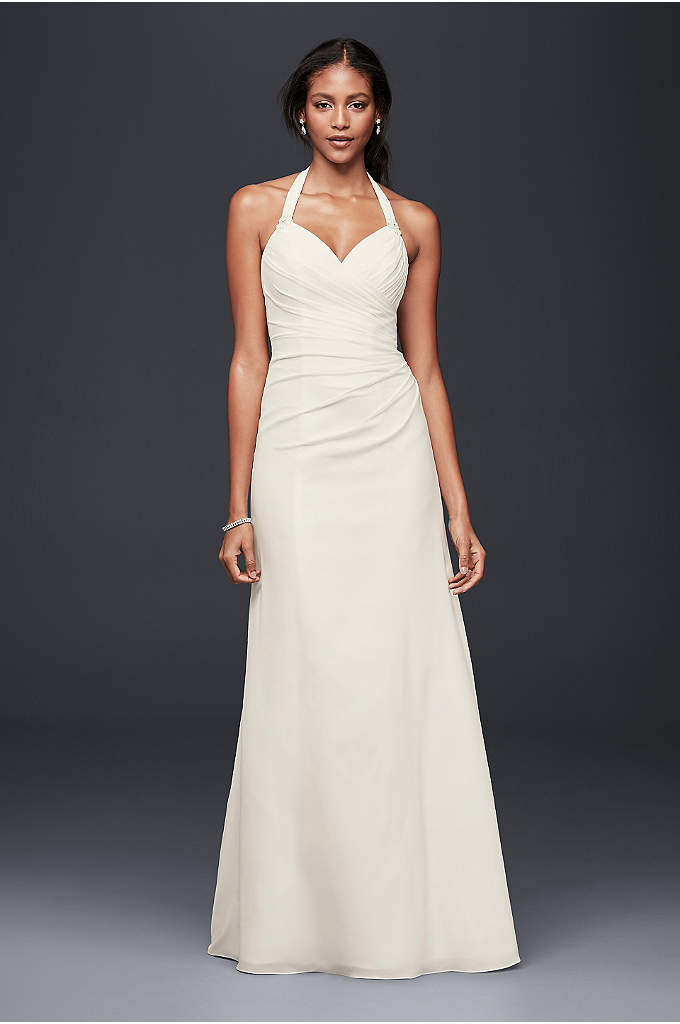 As-Is Crepe Sheath Halter Wedding Dress - This sheath wedding dress was designed with effortless