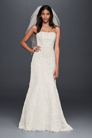 As-Is Strapless Beaded Lace Mermaid Wedding Dress - Allover beaded lace makes this clean-lined wedding dress