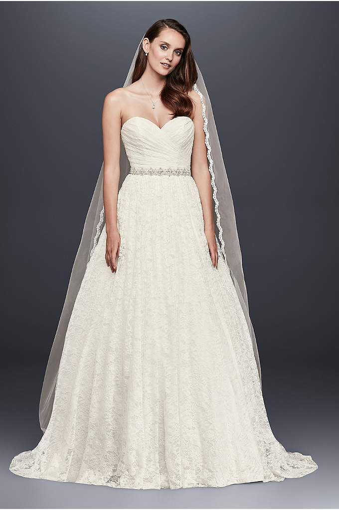 As-Is Lace Sweetheart Wedding Ball Gown - The strapless, sweetheart ball gown is a classic