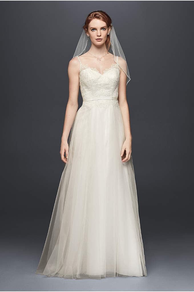 As-Is Lace Tulle Wedding Dress with Beaded Straps - Beaded spaghetti straps lend this soft lace and