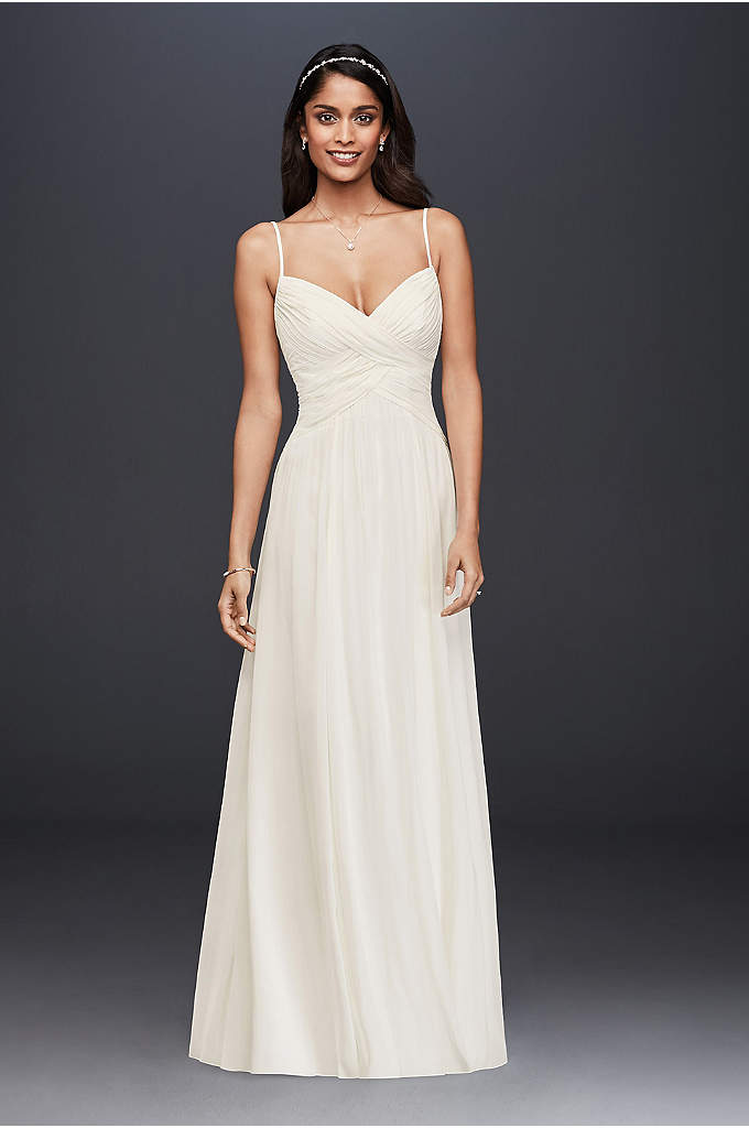 As-Is Ruched Bodice Chiffon A-Line Wedding Dress - A sweet and simple wedding dress, perfect for