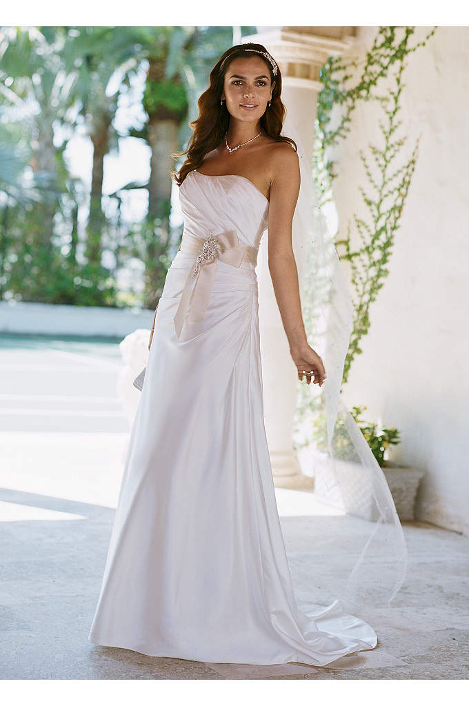 Charmeuse Side-Drape Gown with Sash - Grace your guests with sheer elegance and feel