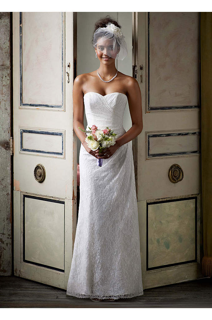 Sweetheart Strapless Lace Gown - Timeless and elegant, this lace over satin gown