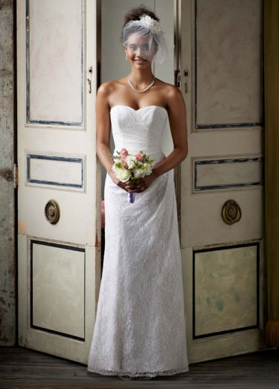 Sweetheart Strapless Lace Gown | David's Bridal