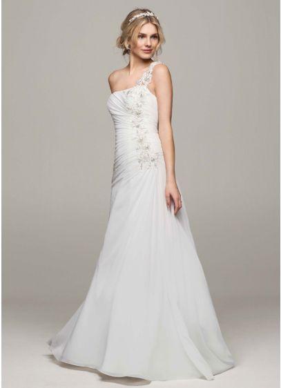 As-Is One Shoulder Chiffon Ruched Wedding Dress | David\'s Bridal
