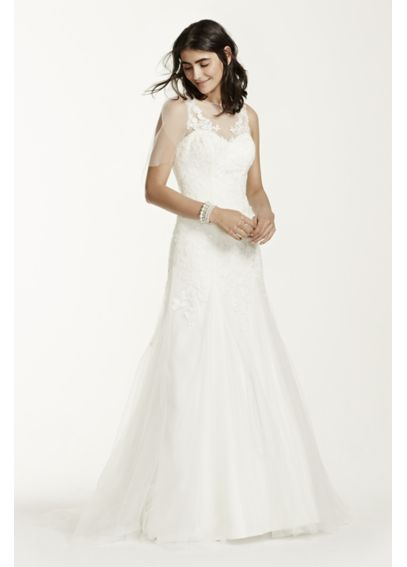 As-Is Lace Illusion Wedding Dress with Deep V-Neck AI10020565