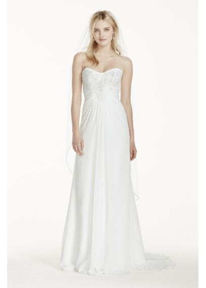 Strapless Chiffon Sheath Wedding Dress with Lace AI10020579