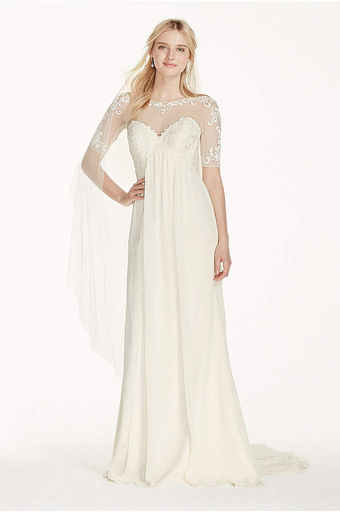 As-Is Wedding Dress with Illusion Lace Sleeves - Make heads turn on your wedding day with