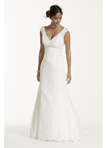 Beaded lace trumpet gown david 39 s bridal for Beaded trumpet wedding dress