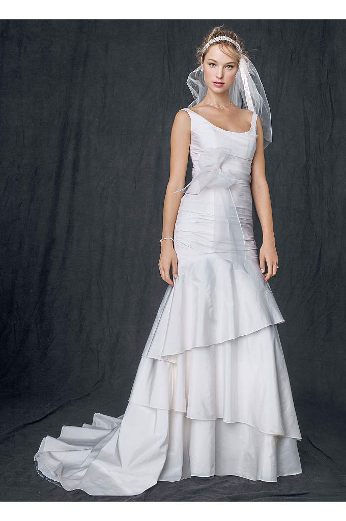 Taffeta Scoop Neck Ruched Bridal Gown with Tiering - Classic silhouette with a twist of today, this