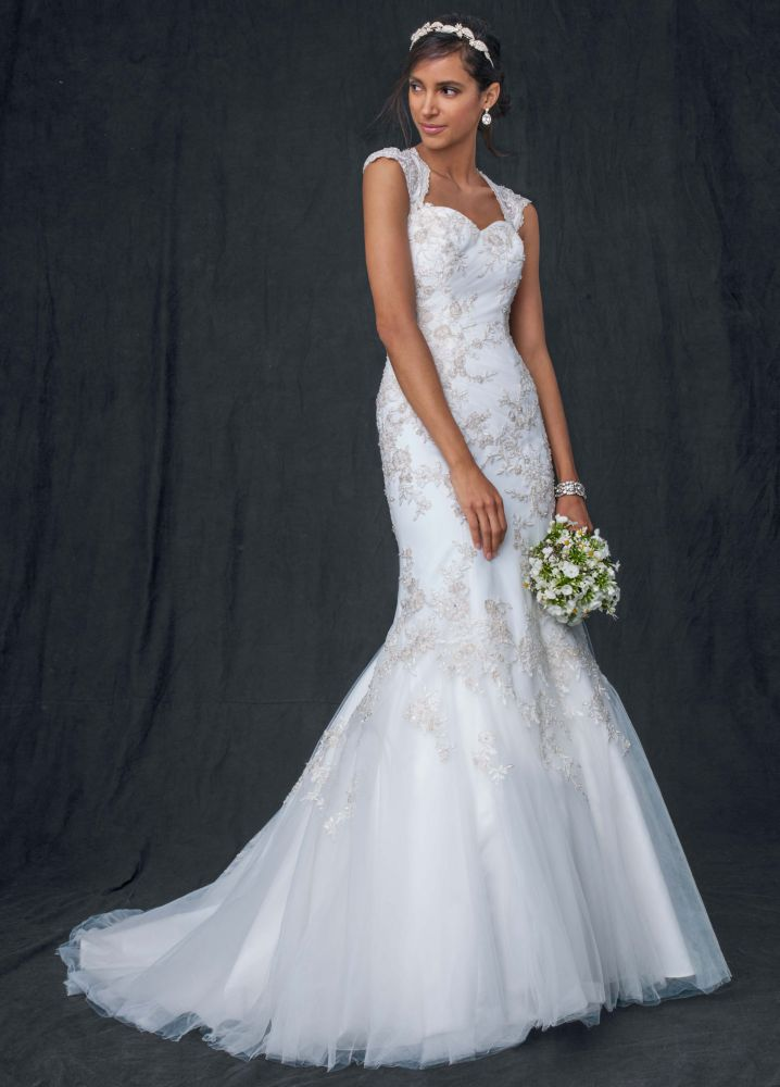 David 39 s bridal sample tulle over satin cap sleeve trumpet for Tulle wedding dress with sleeves