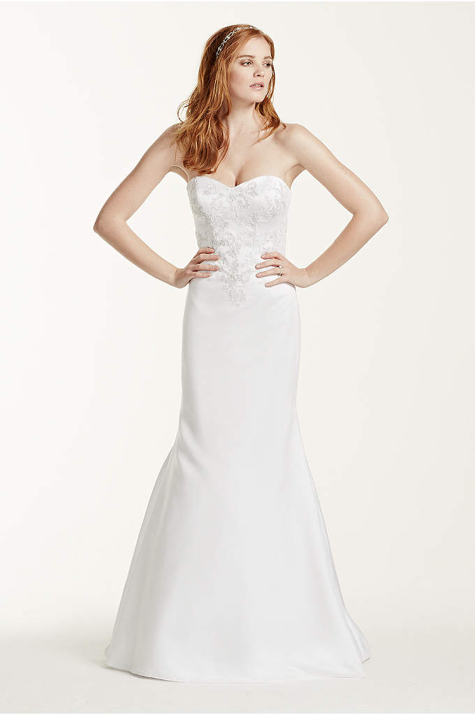 Satin Sweetheart Wedding Dress with Lace Applique - Sweet and simple, this classic satin trumpet gown