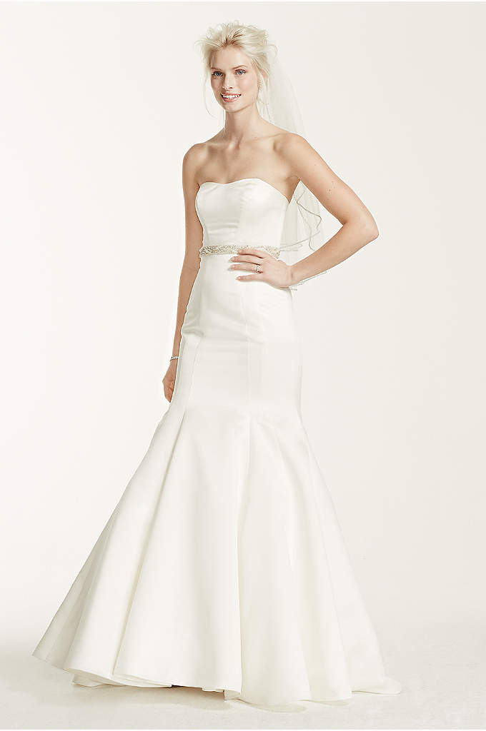 Satin Strapless Trumpet Gown with Seam Detailing - Add bold accents to this simple yet chic