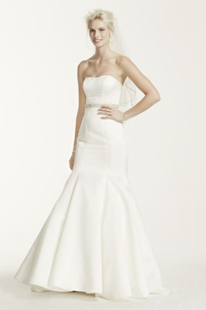 Satin Strapless Trumpet Gown with Seam Detailing | David's Bridal