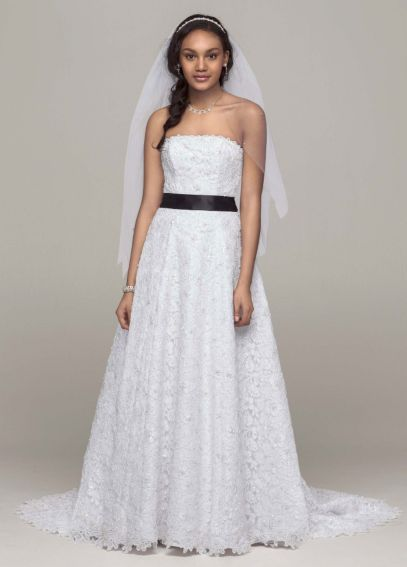 No Train All Over Beaded Corded Lace A-line Gown AI10041023