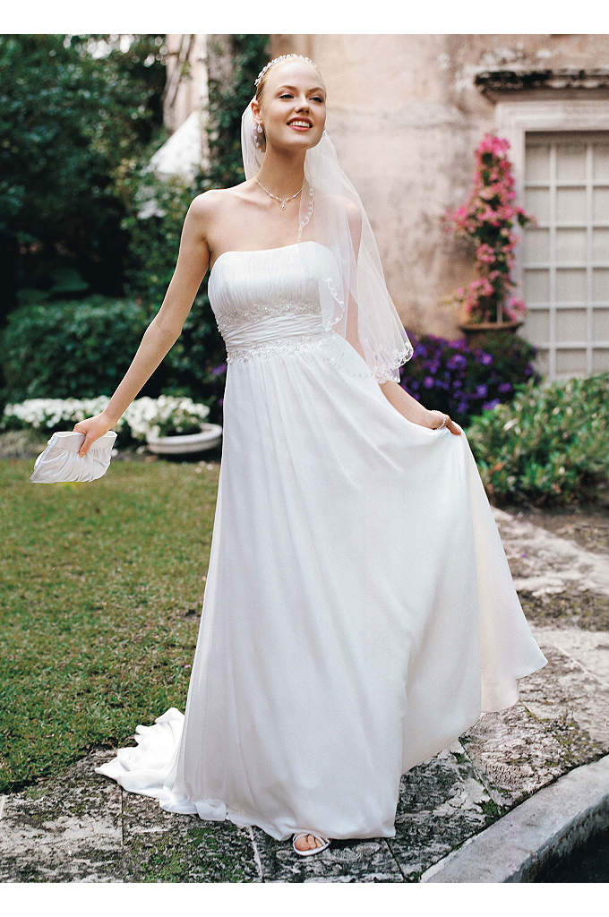 Strapless Lace Sheath Gown With Pearl Beading Davids Bridal