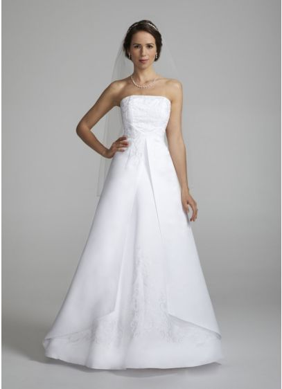 Strapless a line split front gown with beading davids bridal for How to start a wedding dress shop