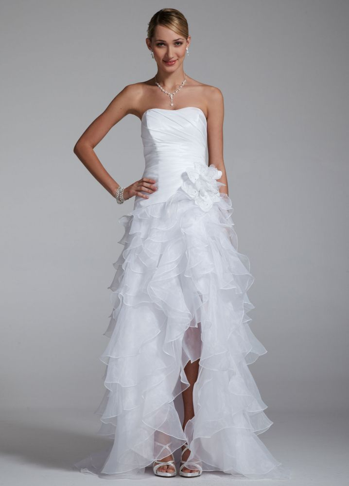 David 39 s bridal sample strapless taffeta high low ruffle for Wedding dresses high low
