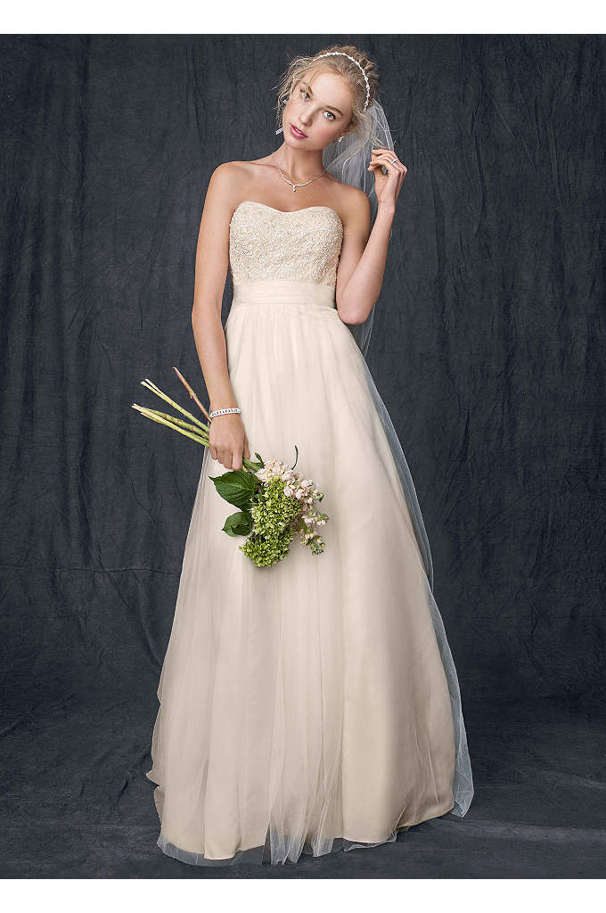 Strapless A Line Beaded Lace Tulle Gown - Ethereal elegance meets modern day fairy tale in