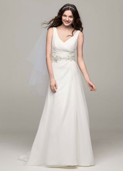 Chiffon A Line Gown with Beaded Waist AI10043128